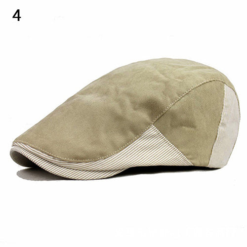 Men's Cabbie Newsboy Golf Style Assorted Colors Strip Peaked Cap Beret Hats-Hats-SJI Shop