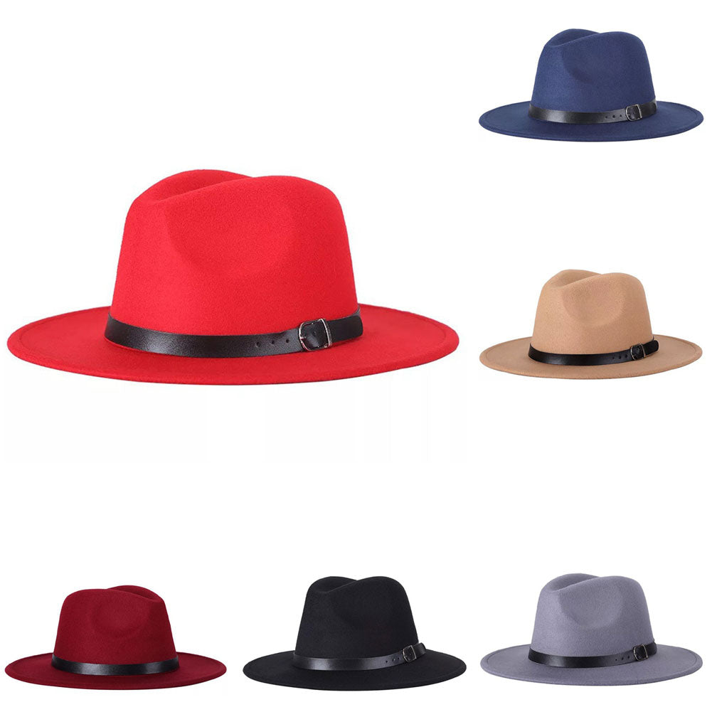 Vintage Unisex Autumn Winter Fedora Wide Brim Cap Outdoor Casual Hat with Belt-Hats-SJI Shop