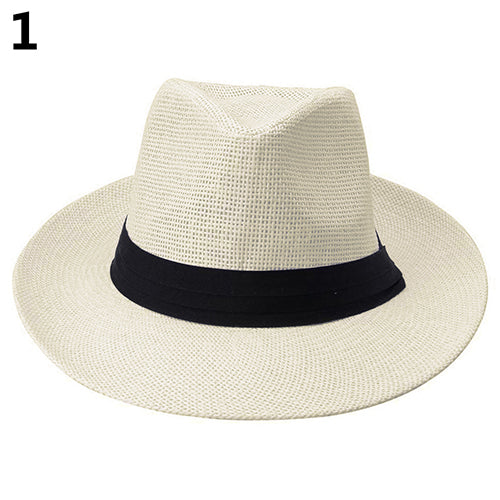 Men Women Fashion Ribbon Decor Hat Summer Beach Sun Topee Straw Panama Cap-Hats-SJI Shop