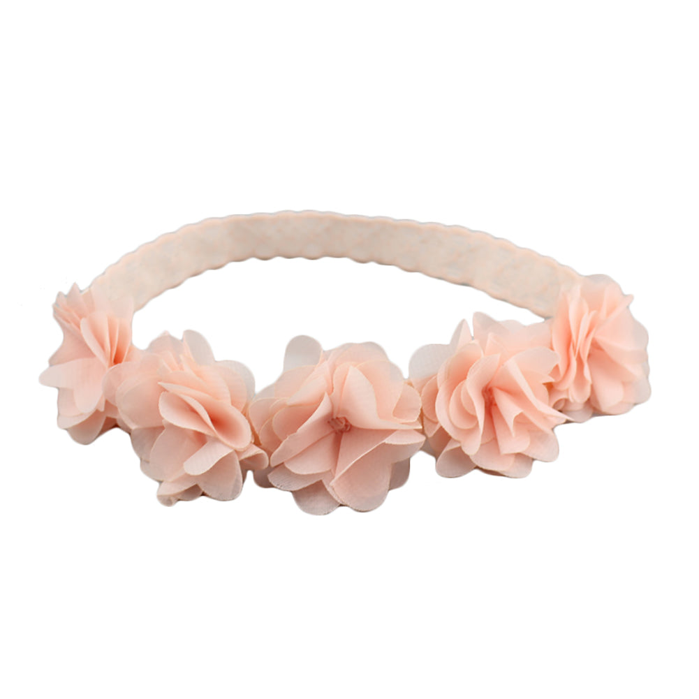 Lovely Cloth Flowers Headwear Decor Hair Wrap Elastic Infant Baby Girl Hairband-Baby Clothing (0-2 years)-SJI Shop