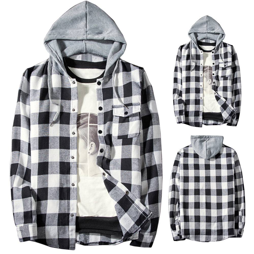 Casual Men Plaid Print Long Sleeve Hooded Shirt Sports Drawstring Hoodies Coat-Men's Clothing-SJI Shop