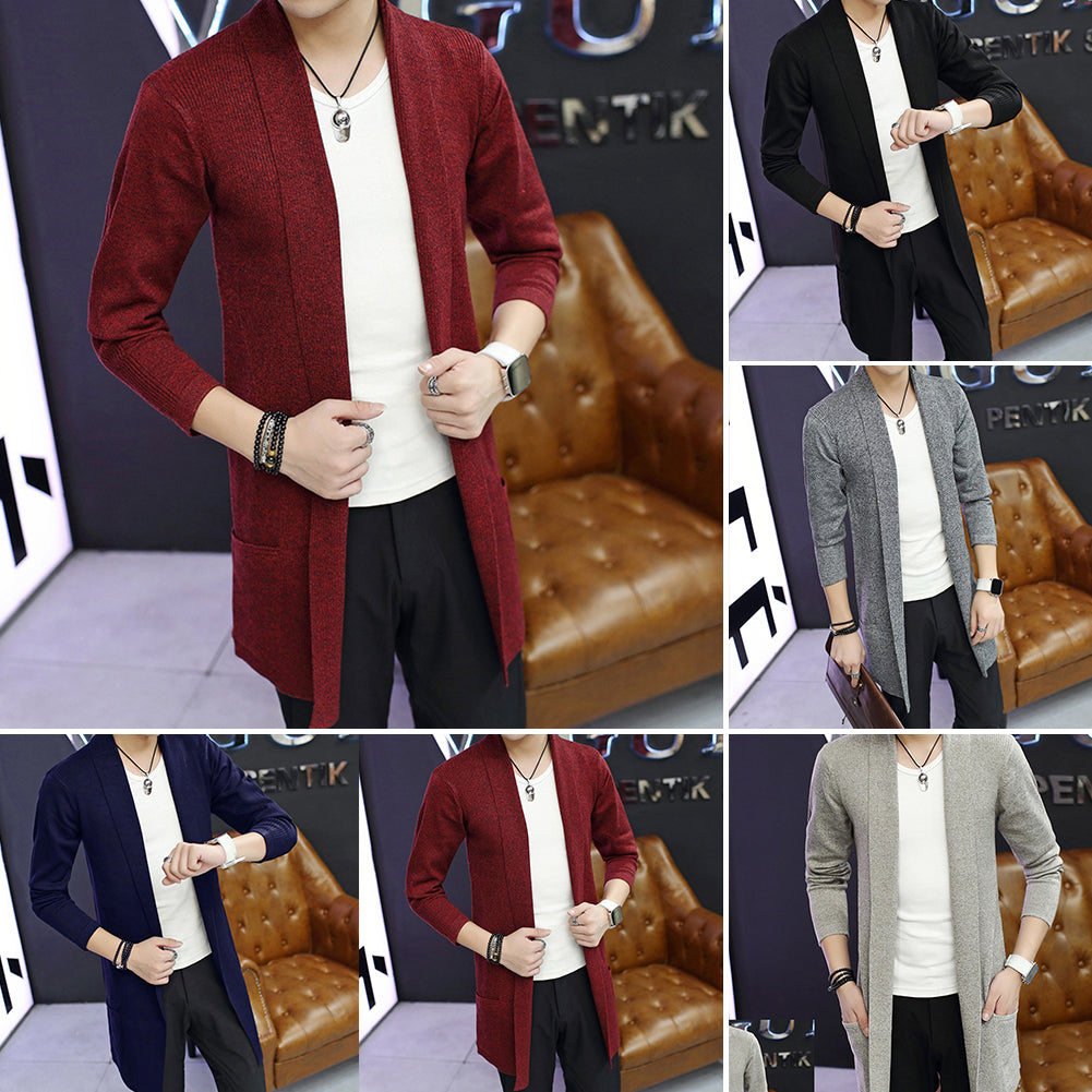 Md-Long Long Sleeve Knitted Cardigan Men's Solid Color Coat Slim Fit Outwear-Jackets-SJI Shop