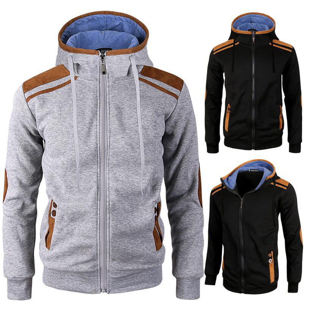 Casual Men Long Sleeve Jacket Coat Faux Deerskin Patchwork Hooded Sweatshirt-Men's Clothing-SJI Shop