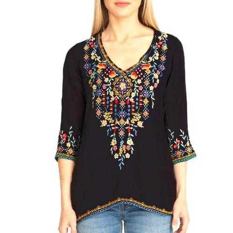 Private Garden Embroidered Tunic Tops In Vivid Colors-NEW ARRIVALS-SJI Shop