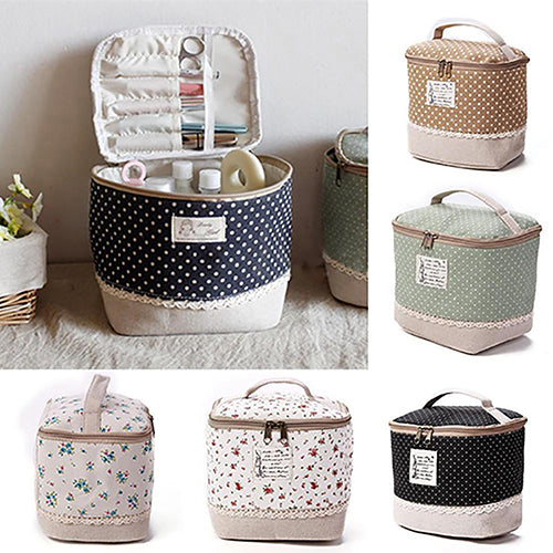 Travel Dot Floral Cosmetic Makeup Bag Toiletry Organizer Lunchbox Storage Case-Bag Accesories-SJI Shop