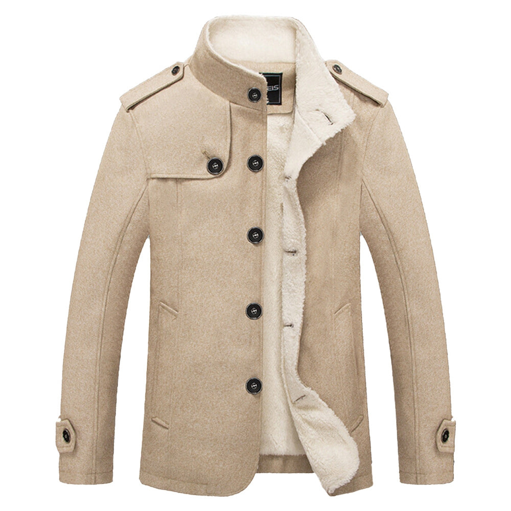 Epaulet Faux Shearling Single Breasted Jacket