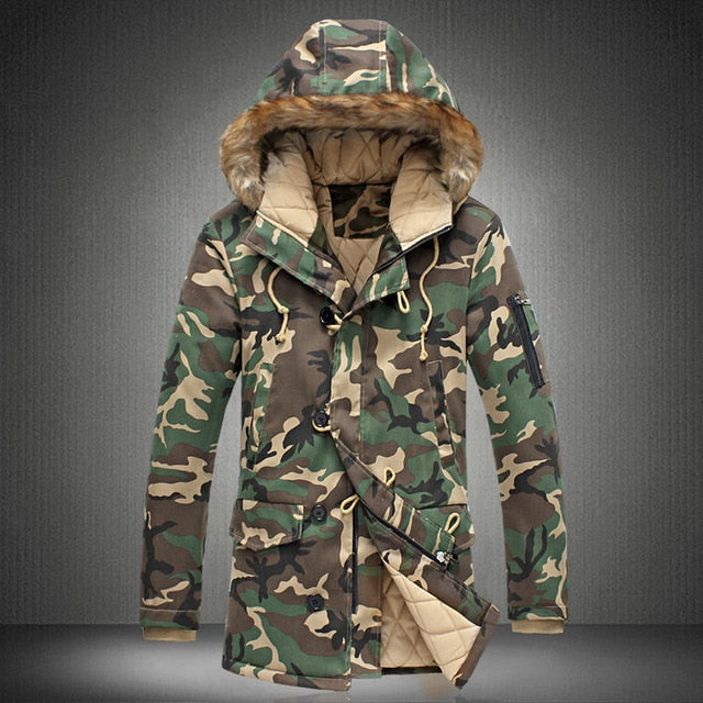 Camouflage Down Parkas Jackets Men's Hooded Coat Fur Collar Winter Military Down Overcoat