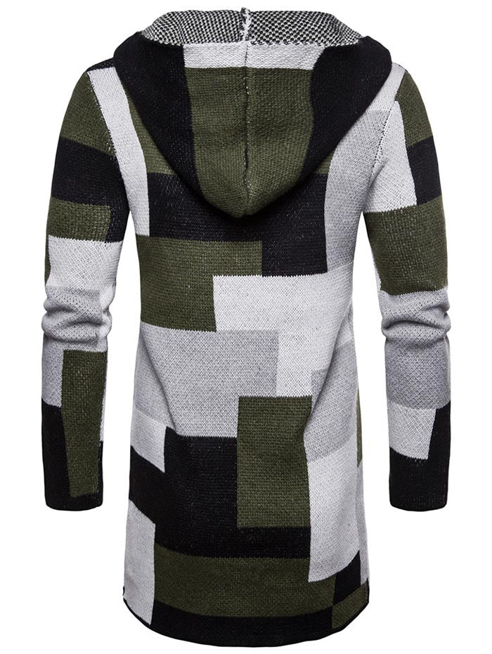 Color Block Collarless Hooded Longline Cardigan