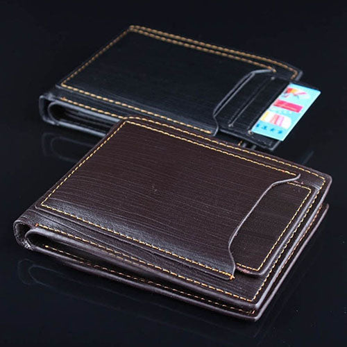 Men Fashion Faux Leather Business Casual Bifold Credit Card Slots Wallet Purse-Wallets-SJI Shop