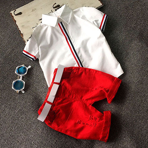 Kids Baby Boys' Cool Striped Sleeve T-Shirt Top + Shorts Outfit Clothing Set-Baby's Sets-SJI Shop