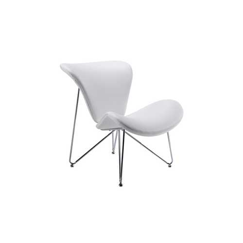 "34"" White Fabric  Polyester  and Metal Accent Chair"