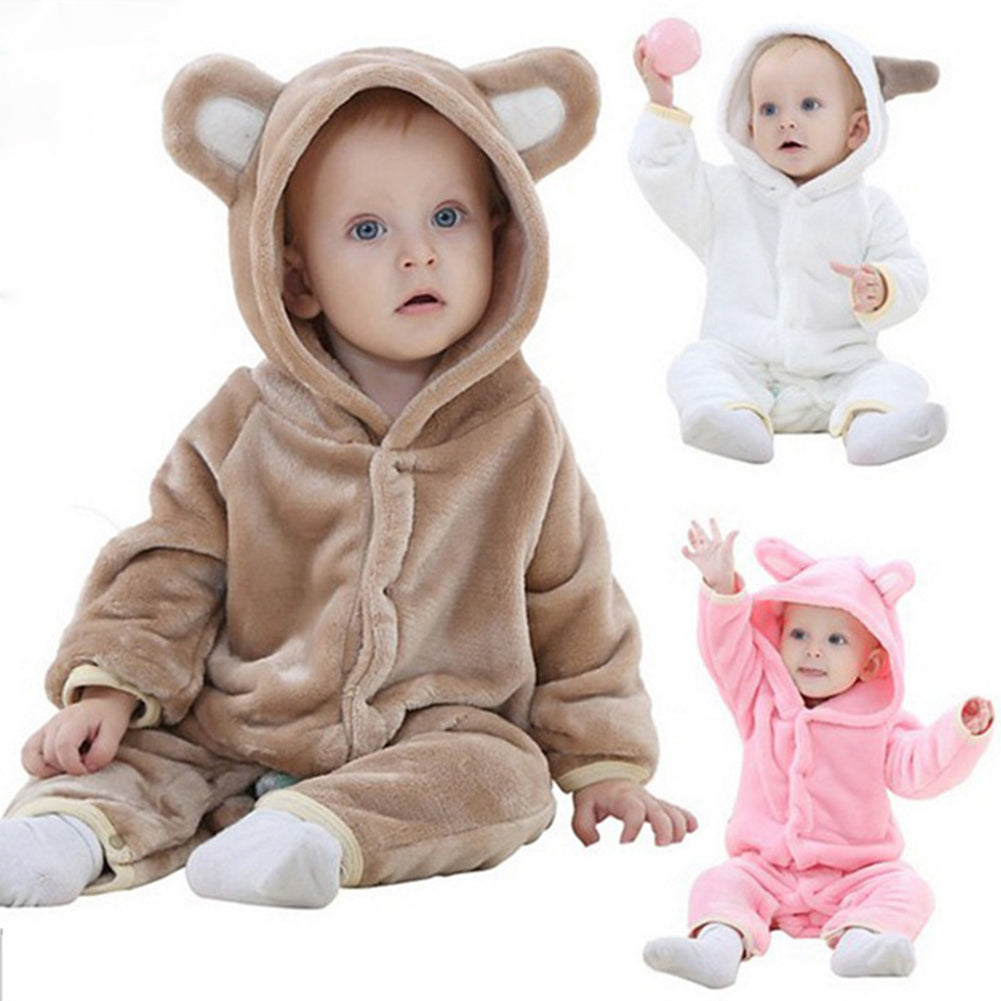 Cute Winter Cartoon Animal Bear Ear Hoodie Baby Infant Romper Climbing Clothes-Baby Clothing (0-2 years)-SJI Shop
