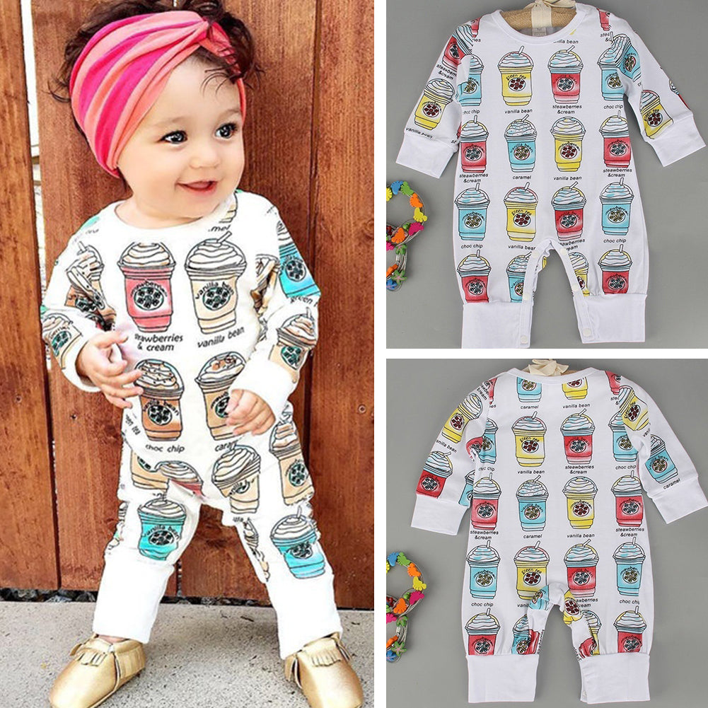Newborn Infants Baby Boys Girls Ice Cream Warm Romper Jumpsuit Clothes Outfits-Baby Clothing (0-2 years)-SJI Shop