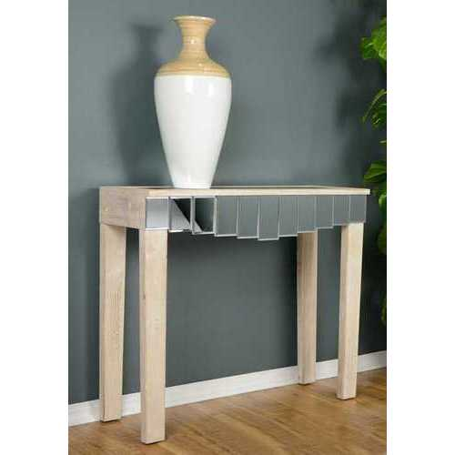 "35.5"" X 13"" X 31"" White Washed MDF Wood Mirrored Glass Console Table with Mirrored Glass Inserts and a Drawer"