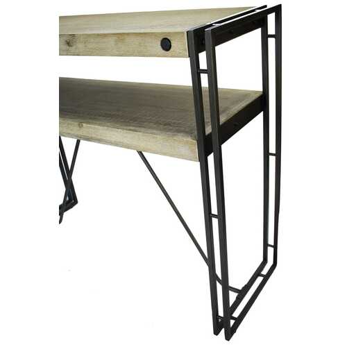 "39.5"" X 14"" X 31.5"" Natural Acacia Wood And Steel Console Table with Drawers"