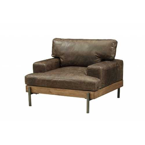 Distressed Chocolate Brown High Grade Leather Chair