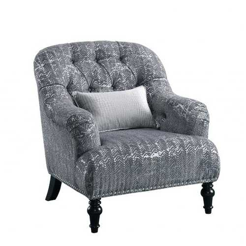 "34"" X 37"" X 37"" Gray Patterned Velvet Chair w/ 1 Pillow"