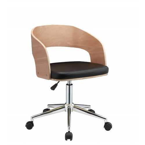 "21"" X 20"" X 2934"" White Leatherette And Beech Office Chair"