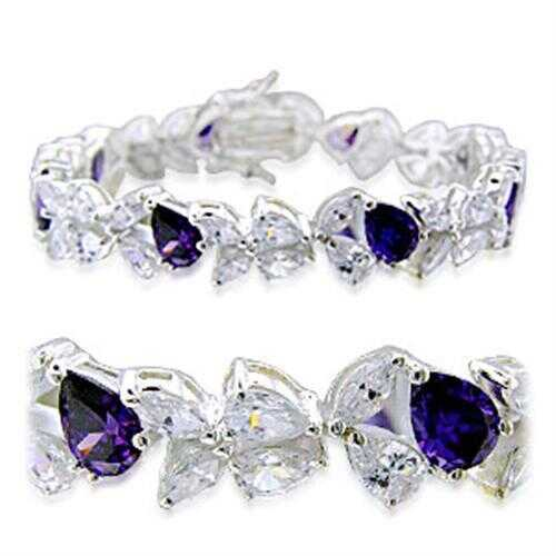 31924 - 925 Sterling Silver Bracelet High-Polished Women AAA Grade CZ Amethyst