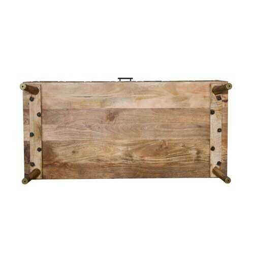 Distressed Mango Wood Coffee Table With Storage