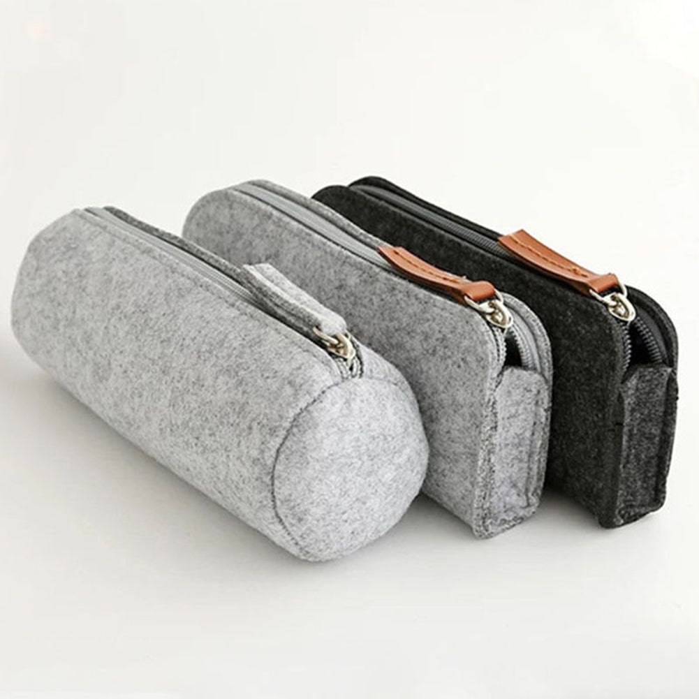 Felt Solid Color Simple Style Pencil Case Stationery Pouch Pen Bag Student Gift-Bag Accesories-SJI Shop