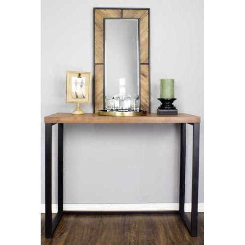 "41.25"" X 16"" X 30"" Natural Metal Wood MDF Console Table"