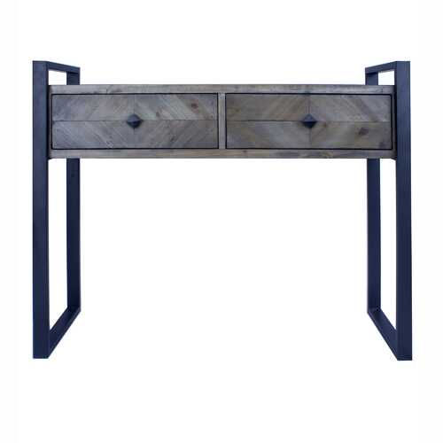 "39.75"" X 14.75"" X 31.5"" Matt Grey Metal Wood MDF Console Table with Drawers"