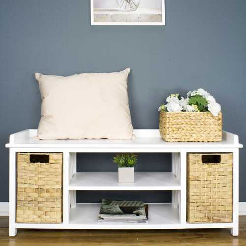 Modern Entryway White Wood Finish Storage Bench with Two Woven Storage Baskets