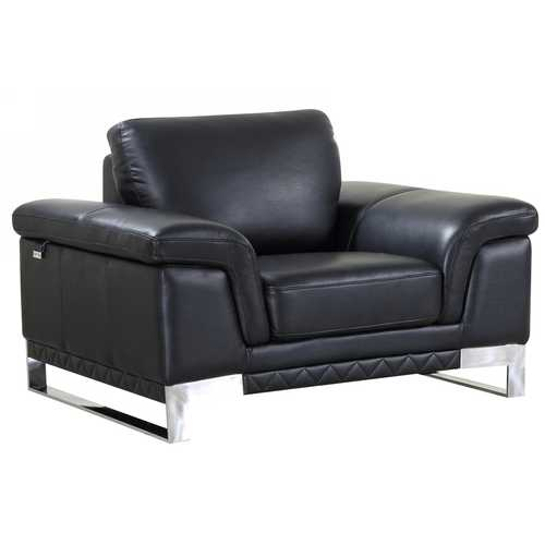 "32"" Black Lovely Leather Chair"