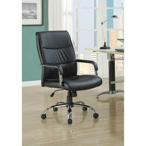 "41.5"" Black Leather Look  Foam  and Metal Office Chair"