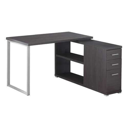 "47.25"" x 47.25"" x 29.5"" Grey Silver Particle Board Hollow Core Metal  Computer Desk With A Hollow Core"