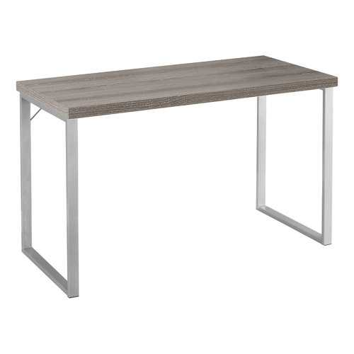 "23.75"" x 47.25"" x 30"" Dark Taupe Silver Particle Board Hollow Core Metal  Computer Desk"