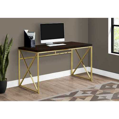 Modern Gold and Walnut Finish Computer Desk