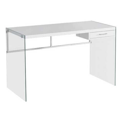 "23.75"" x 48"" x 30"" White Clear Particle Board Glass Metal Tempered Glass  Computer Desk"