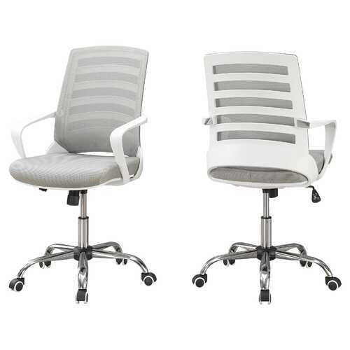 "24.25"" x 24"" x 39"" White Grey Foam Metal Nylon  Multi Position Office Chair"