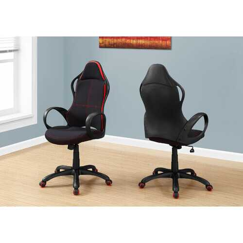 "46"" Black and Red Fabric  MDF  Metal  Polypropylene Multi Position Office Chair"