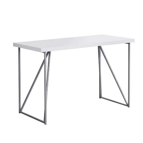 "22"" x 47.25"" x 30"" White Silver Metal Hollow Core Particle Board  Computer Desk"