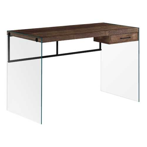 "23.75"" x 48"" x 30"" Brown Black Clear Particle Board  Computer Desk"