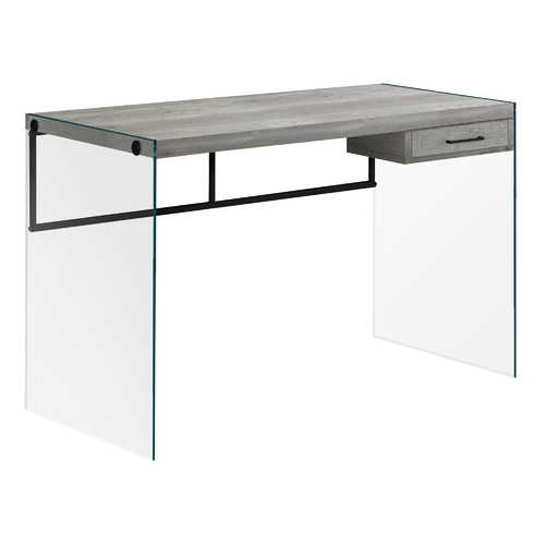 "23.75"" x 48"" x 30"" Grey Black Clear Particle Board Glass Metal Tempered Gl  Computer Desk"
