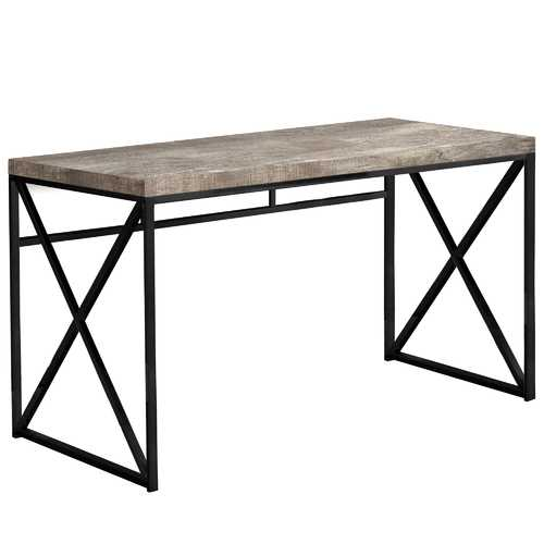 "23.75"" x 47.25"" x 29.75"" Taupe Black Particle Board Metal  Computer Desk"