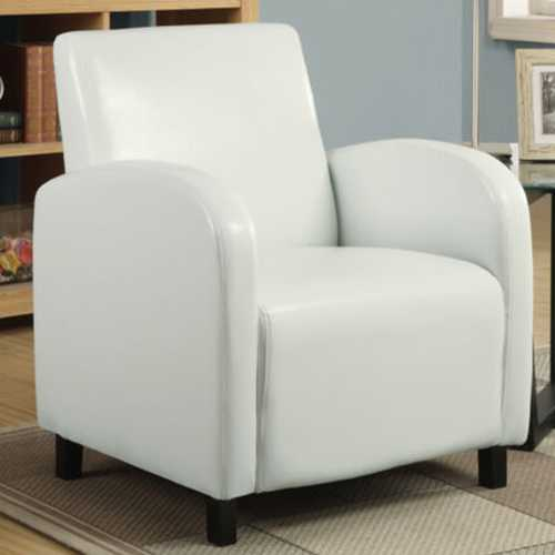 "29"" x 27.5"" x 32.5"" White Leather-Look Foam Accent Chair with Solid Wood Frame"