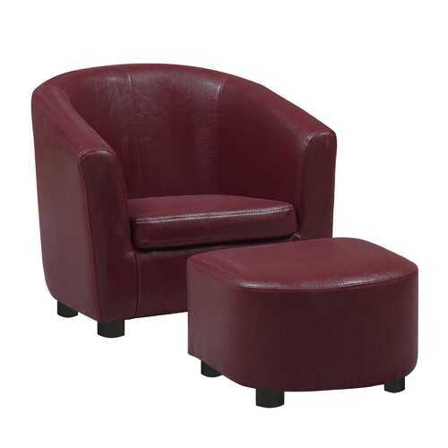 "30.5"" x 33"" x 26"" Red Leather Look Fabric Chair  Set of 2"