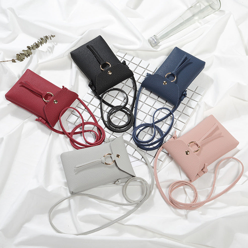 Mini Crossbody Shoulder Bag Phone Pouch Plain Faux Leather Women Coin Purse-Shoulder Bags & Cross-Body Bags-SJI Shop