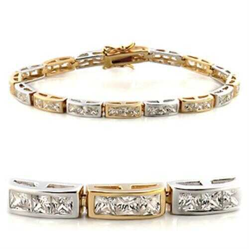 36712 - Brass Bracelet Gold+Rhodium Women AAA Grade CZ Clear