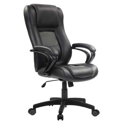 "26.37"" x 27.55"" x 41.33"" Black Leather Chair"