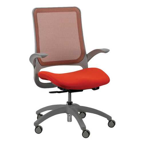 "24.4"" x 22.4"" x 38"" Orange Mesh / Fabric Office Chair"