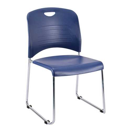 "18"" x 22.5"" x 33.5"" Navy Plastic Guest Chair"