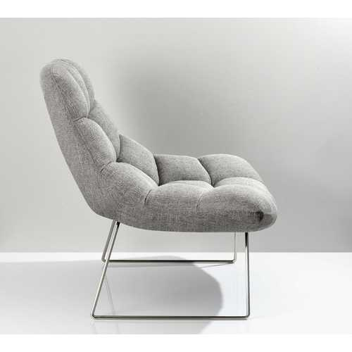 "40"" X 33"" X 33"" Light Grey Soft Textured Fabric and Brushed Steel Chair"