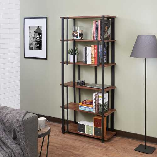 "32"" X 13"" X 70"" Walnut & Sandy Black Wood Bookshelf"