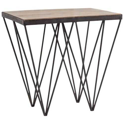 Modern Mango Wood Finish Console Table With V Shaped Black Metal base